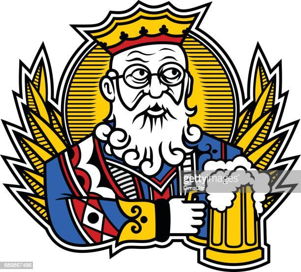 king with beer - king royal person stock illustrations