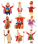 Kings cartoon vector set.