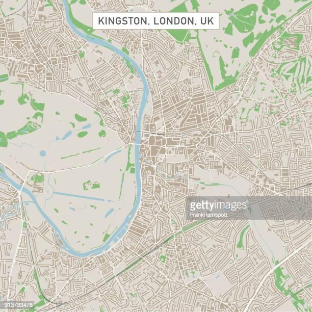 ilustrações, clipart, desenhos animados e ícones de mapa de rua da cidade kingston londres uk - mapa de rua