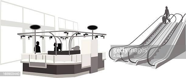 Kiosk'n Escalator Vector Silhouette