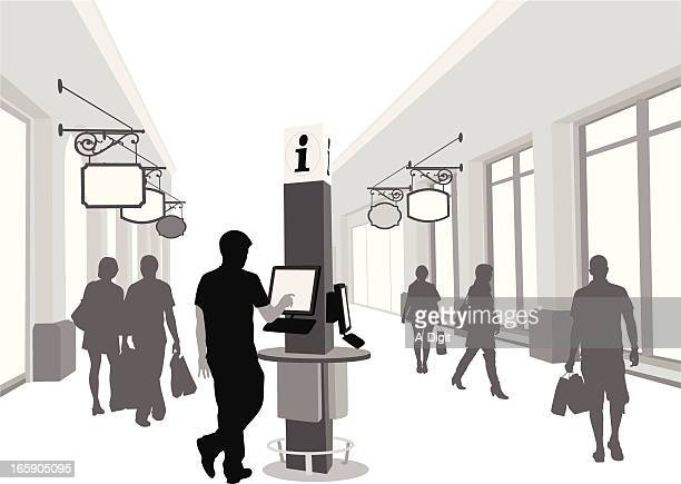 kiosk'n shopping vector silhouette - interactivity stock illustrations, clip art, cartoons, & icons