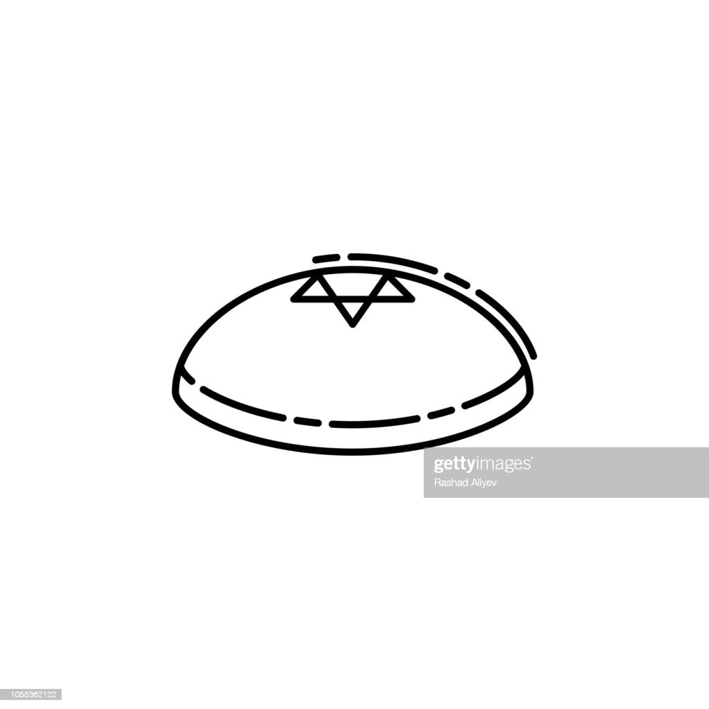 Kippah icon. Element of Jewish icon for mobile concept and web apps. Thin line Kippah icon can be used for web and mobile
