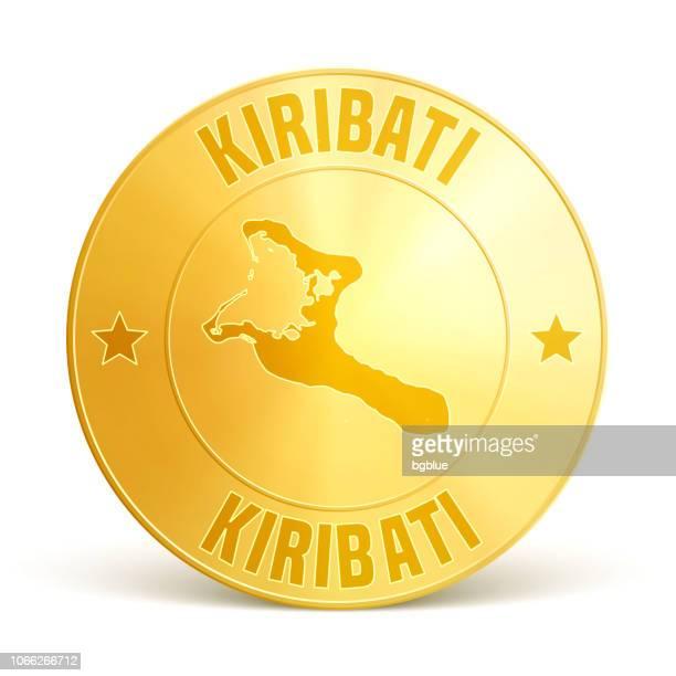 Kiribati - Gold coin on white background
