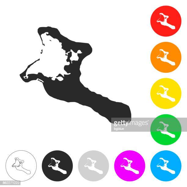 Kiribati map - Flat icons on different color buttons