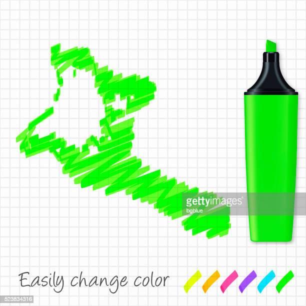 Kiribati map hand drawn on grid paper, green highlighter