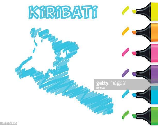 Kiribati map hand drawn on white background, blue highlighter