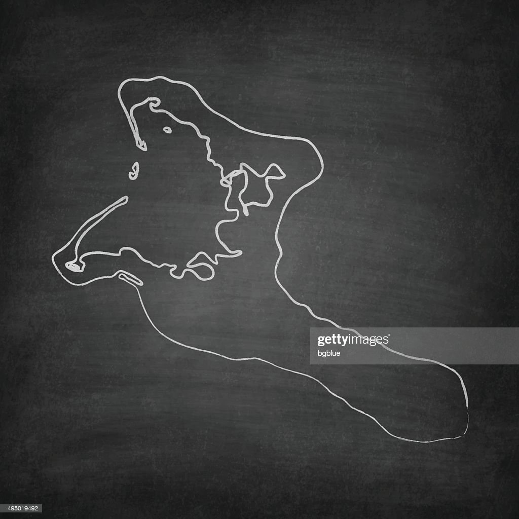 Kiribati Map on Blackboard - Chalkboard : stock illustration