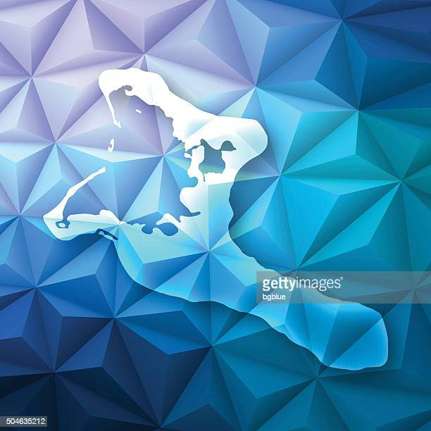Kiribati on Abstract Polygonal Background - Low Poly, Geometric
