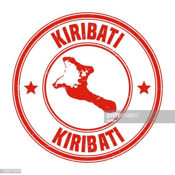Kiribati - Red grunge rubber stamp with name and map