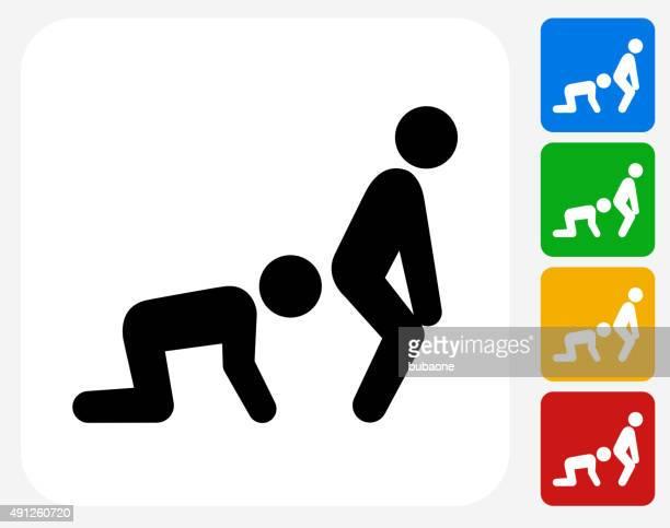 kiss ass icon flat graphic design - prejudice stock illustrations, clip art, cartoons, & icons
