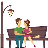 Kissing Couple on a Bench flat desing