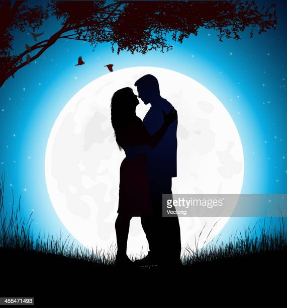 kissing couple - couple relationship stock illustrations