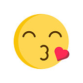 Kissing emoticon smiley. Cute romantic emoji icon