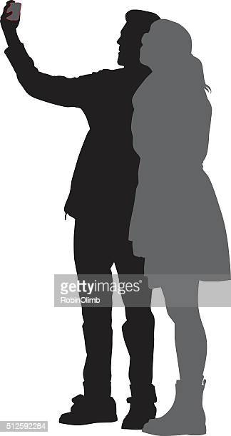 kissing selfie silhouette - camera stand stock illustrations, clip art, cartoons, & icons