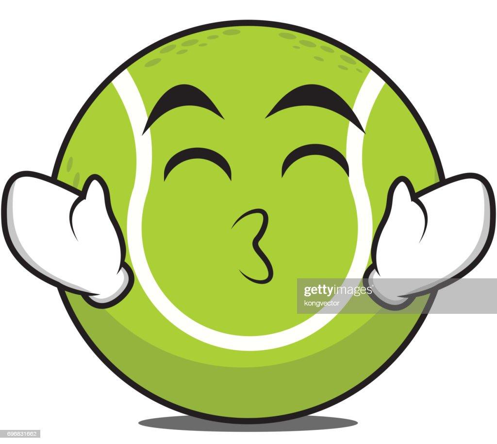 Kissing smile eyes tennis ball character vector illustration