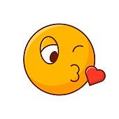 Kissing smiley. Cute romantic emoticon. Editable emoji vector