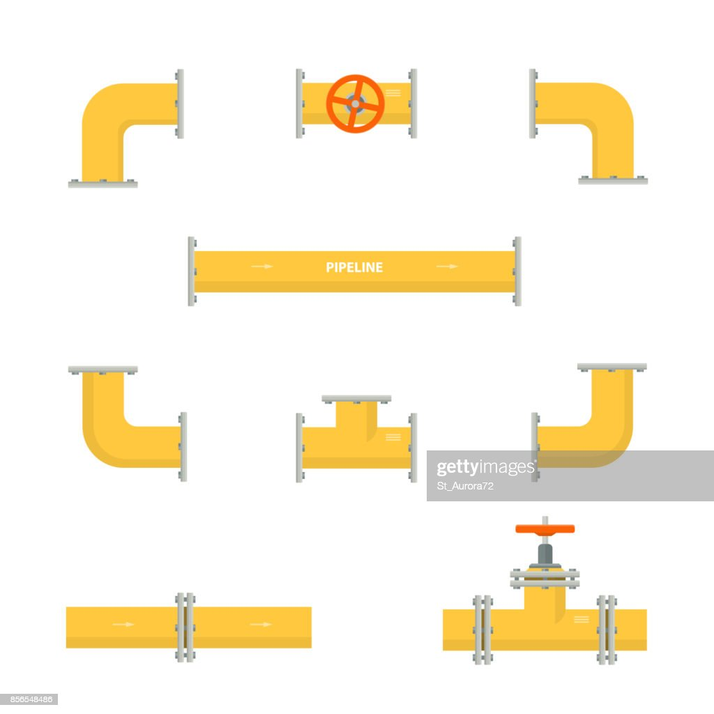 Kit set of pipelines. Isolated yellow elements of the pipeline. Gas and oil industry.