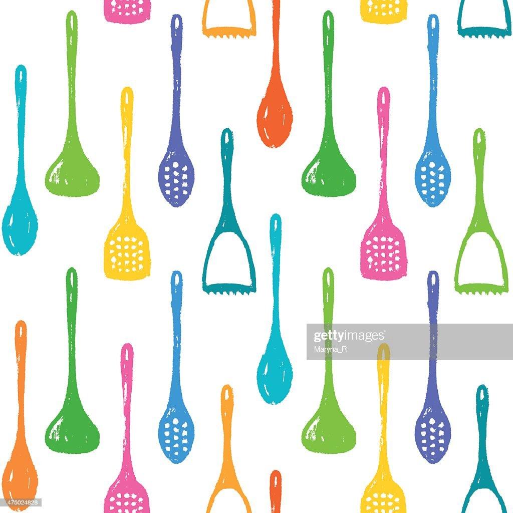 Kitchen accessories ink hand drawn seamless pattern