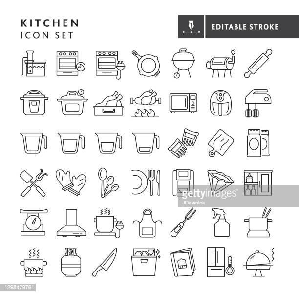 キッチンと料理大きな細い線アイコンセット - 編集可能なストローク - ロースト点のイラスト素材/クリップアート素材/マンガ素材/アイコン素材