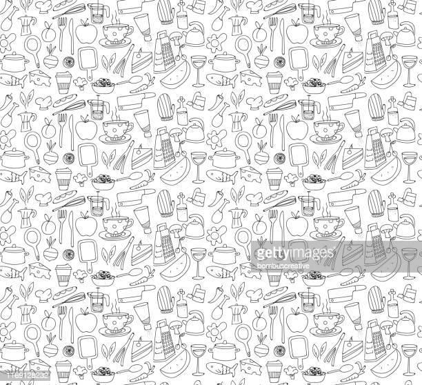 キッチンと食品パターン - 台所点のイラスト素材/クリップアート素材/マンガ素材/アイコン素材