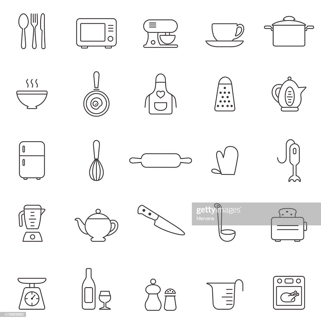 Kitchen and Utensil line icon set. Vector