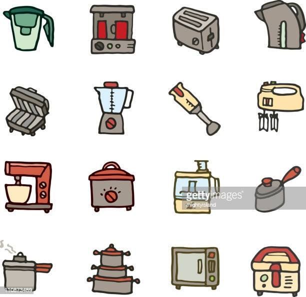 Kitchen appliance doodle icons
