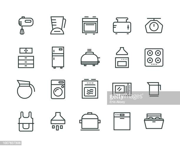 kitchen appliance icon set - kitchen scale stock illustrations, clip art, cartoons, & icons