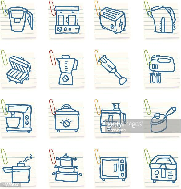 Kitchen appliance note icons