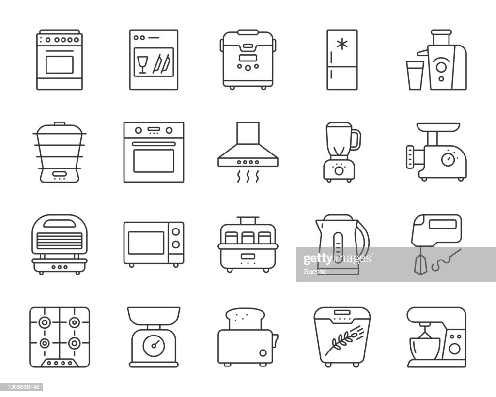Kitchen Appliance simple line icons vector set