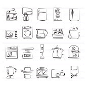 kitchen appliances and kitchenware icons