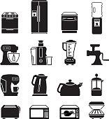 Kitchen appliances black & white royalty free vector icon set