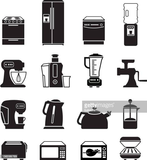 Kitchen appliances black & white royalty free vector icon set