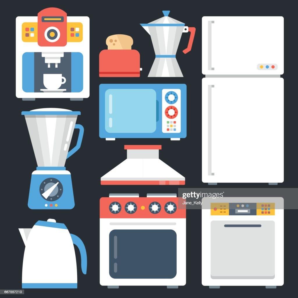 Kitchen appliances, household, home appliances set. Modern flat icons set, trendy graphic elements. Creative design concepts. Vector illustration