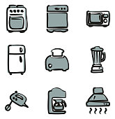 Kitchen Appliances Icons Freehand 2 Color