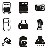 Kitchen Appliances Icons Freehand Fill