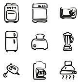 Kitchen Appliances Icons Freehand