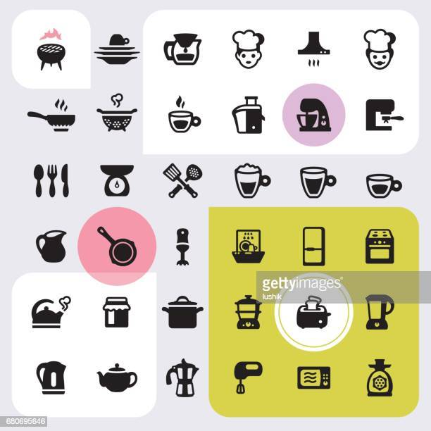 kitchen appliances icons set - exhaust fan stock illustrations, clip art, cartoons, & icons