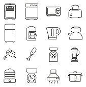 Kitchen Appliances Icons Thin Line Vector Illustration Set