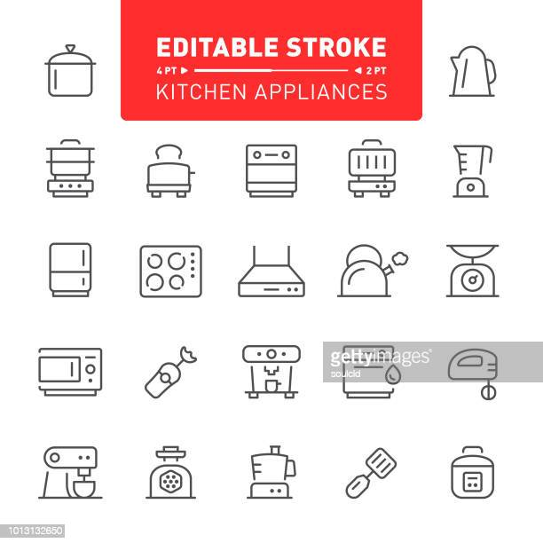 kitchen appliances icons - toaster appliance stock illustrations, clip art, cartoons, & icons