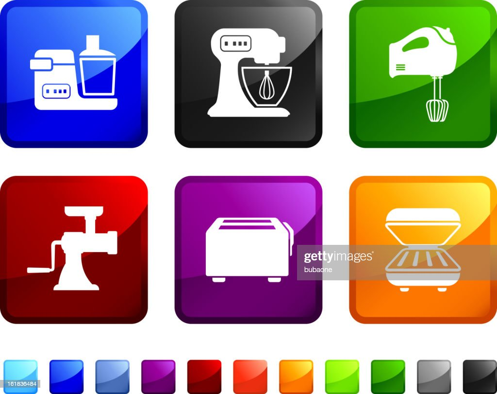 Kitchen Appliances Royalty Free Vector Icon Set Stock