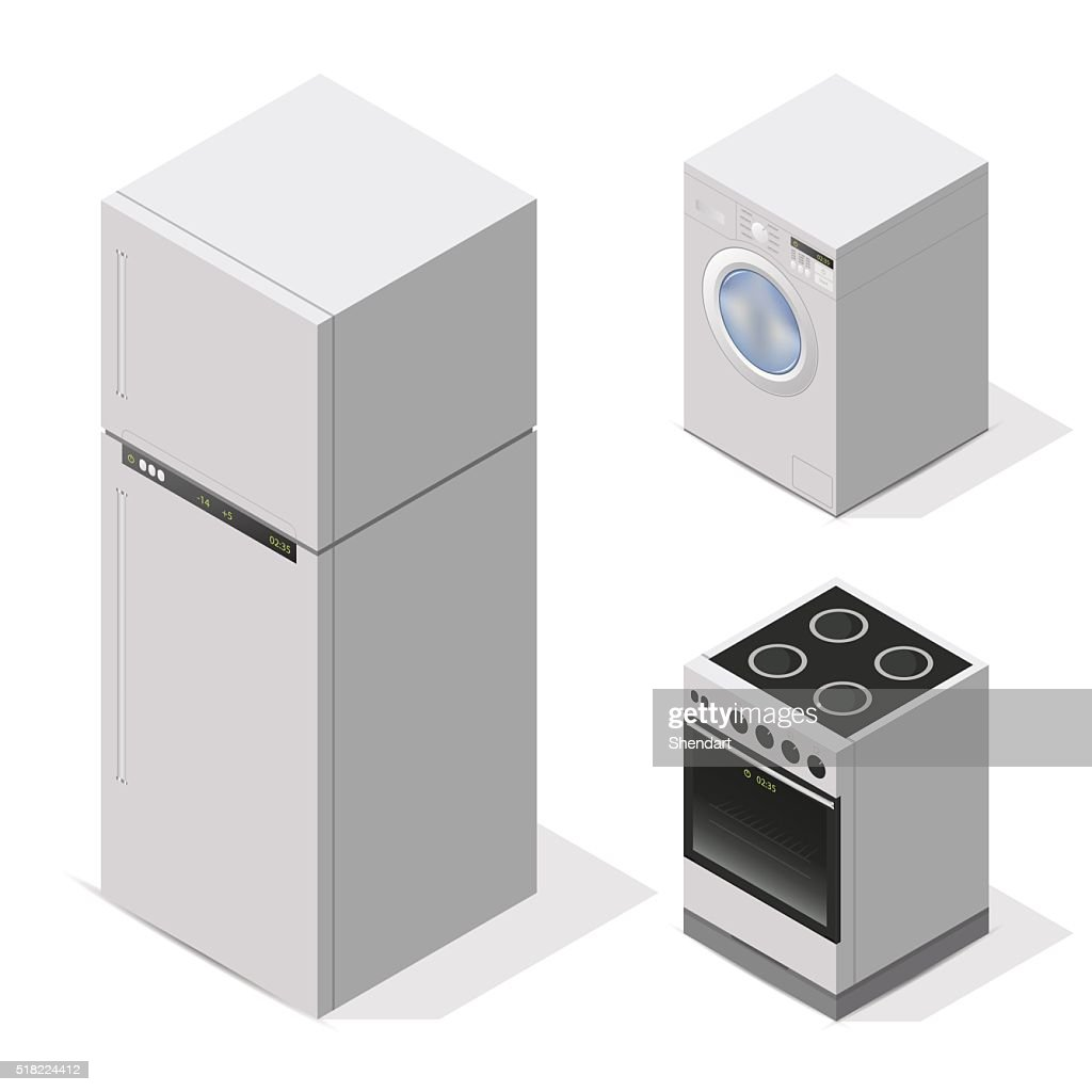 kitchen appliances set. Equipment for the home. Vector isometric illustration.