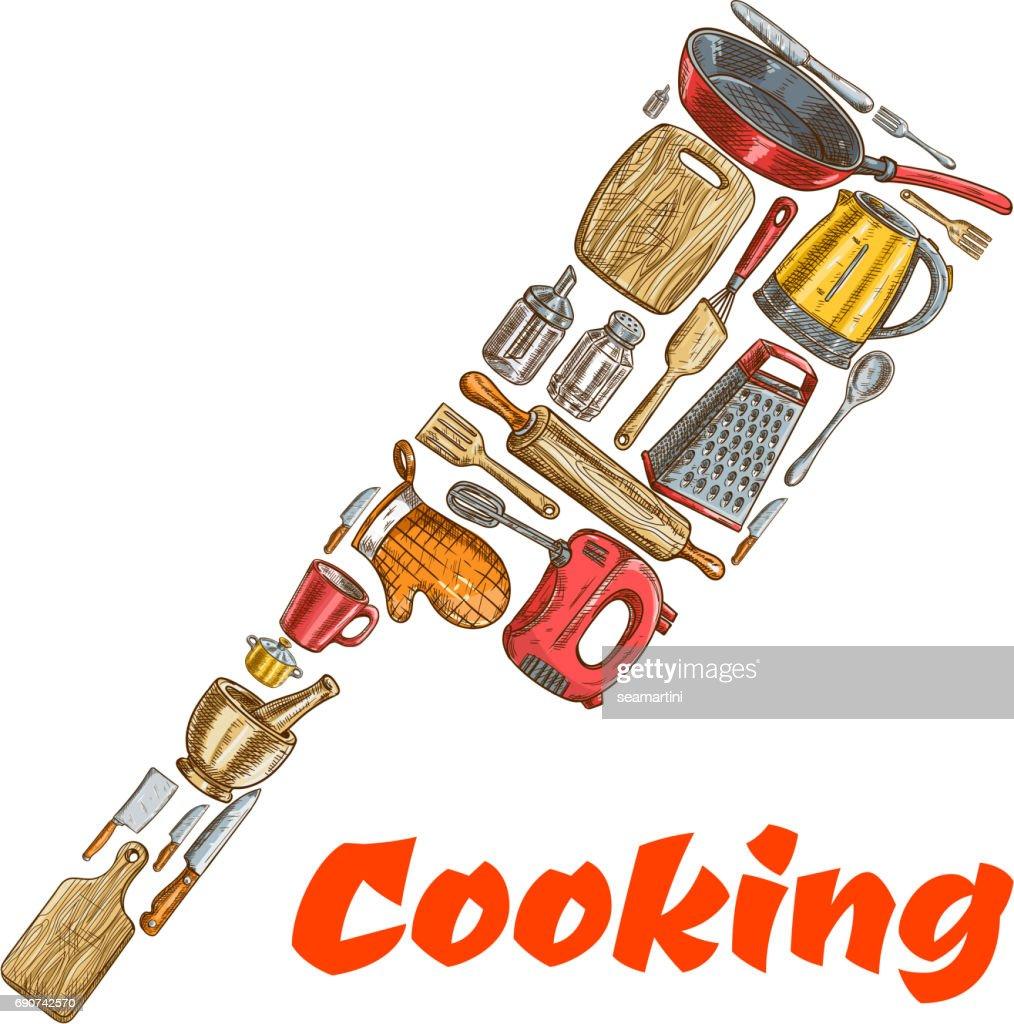 Kitchen ax hatchet emblem made of cooking utensils