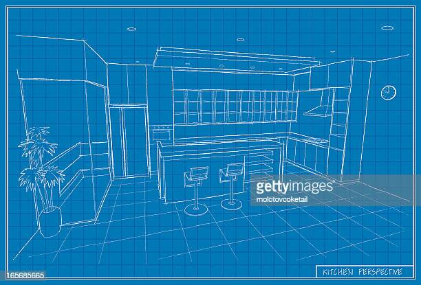 kitchen blueprint - cabinet stock illustrations, clip art, cartoons, & icons