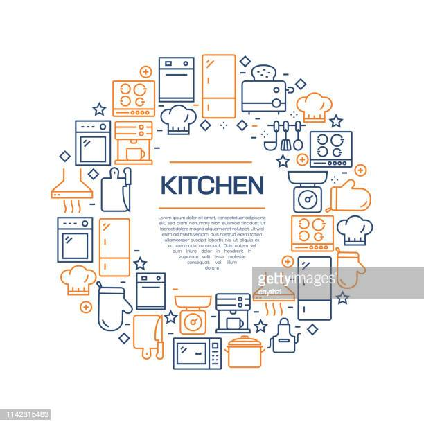 kitchen concept - colorful line icons, arranged in circle - kitchenware department stock illustrations, clip art, cartoons, & icons