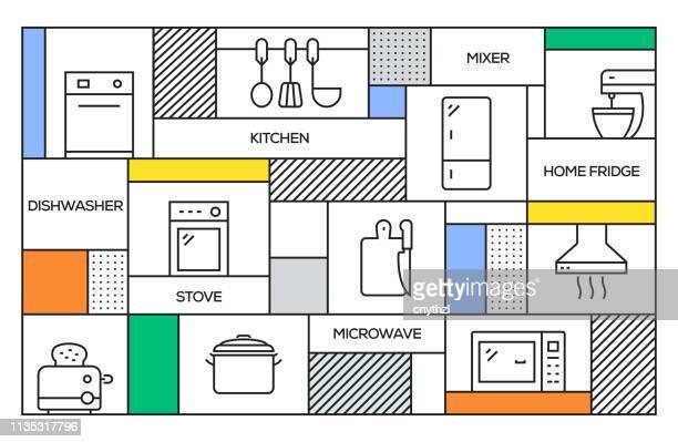 キッチンコンセプト。キッチン関連のラインアイコンと幾何学的なレトロスタイルのバナーとポスターコンセプト - キッチン点のイラスト素材/クリップアート素材/マンガ素材/アイコン素材