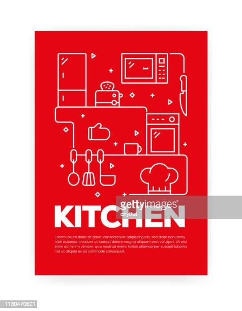年次報告書、チラシ、パンフレットのキッチン コンセプト ライン スタイル カバー デザイン。 - キッチン点のイラスト素材/クリップアート素材/マンガ素材/アイコン素材