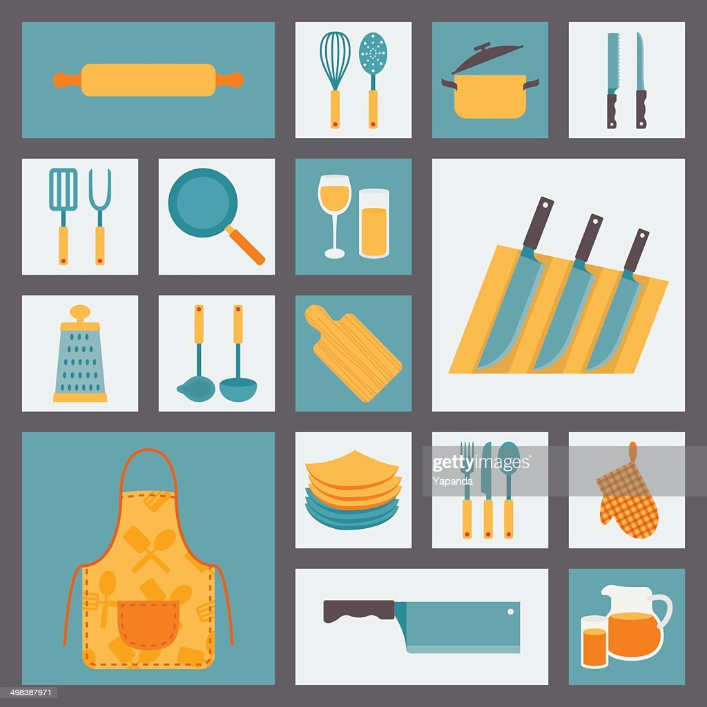 Kitchen cooking icons set, kitchenware and utensils icons.