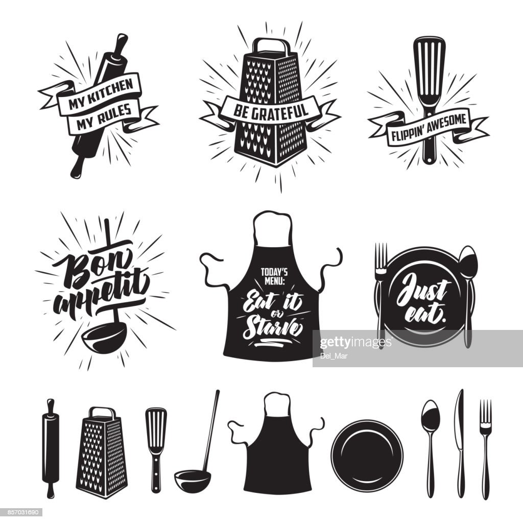 Kitchen cooking prints set. Vector vintage illustration.