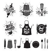 Kitchen cooking prints set. Vector vintage illustration.