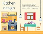 Kitchen design. Kitchen and dining room interior